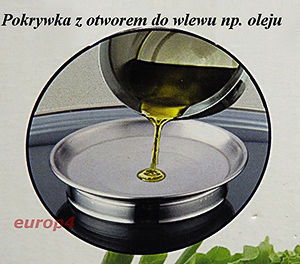 Dozownik oleju w uchwycie pokrywki