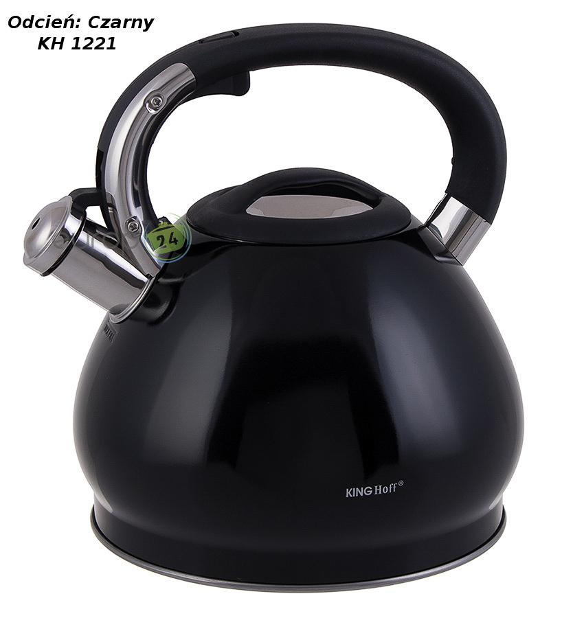 Czarny czajnik stalowy z gwizdkiem 3L Kinghoff KH 1221