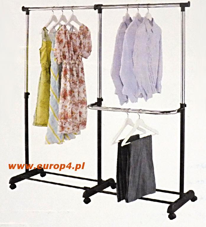 Solidny wieszak na ubrania na kółkach Metlex MX 3073